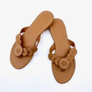 SUPER Cute caramel Boden leather flip flops